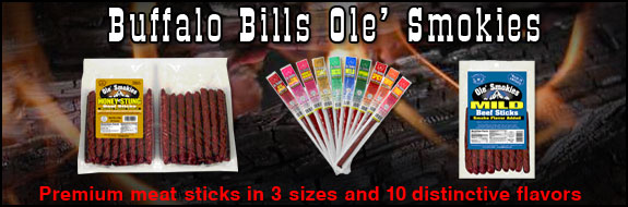 Buffalo Bills Ole' Smokies - Premium meat sticks in 3 sizes and 10 distinctive flavors
